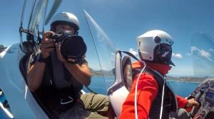 Le photographe Stéphane Scotto en prises de vues aériennes en gyrocoptère.